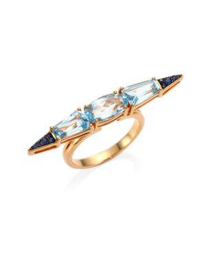 ETHO MARIA Sharp 18K Rose Gold Blue Sapphire and Topaz Ring
