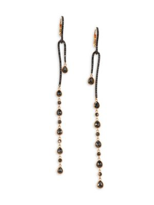 ETHO MARIA Leyla 18K Rose Gold & Black Diamond Curve Drop Earrings
