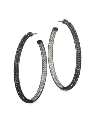 Two-Tone Pave Swarovski Crystal Hoop Earrings/1.5""