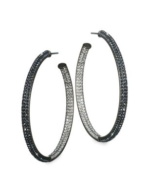 Two-Tone Pave Swarovski Crystal Hoop Earrings/1.5