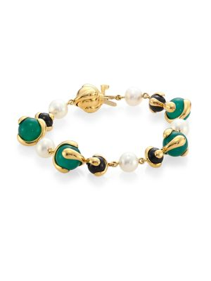 MARINA B 8MM Pearl Multi Stone and 18K Yellow Gold Bracelet