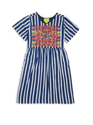 Toddler's, Little Girl's & Girl's Two-Piece Marilena Embroidered Cotton Dress & Bloomers Set