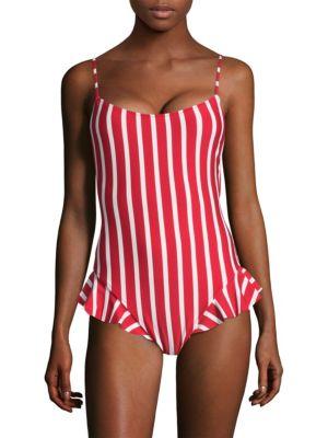 Bondi Striped Ruffle One-Piece Swimsuit
