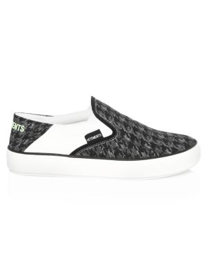Collapsible-heel Checkerboard Canvas Slip-on Sneakers - BlackVETEMENTS Abt9D8