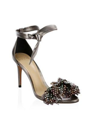 Clarita Metallic Leather Ankle-Tie Sandals