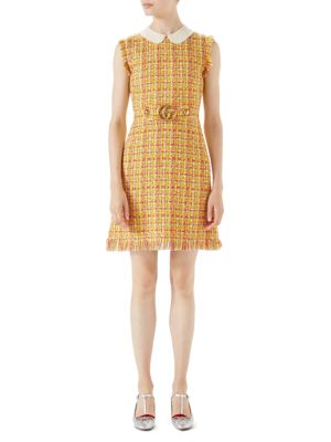 Multi Tweed Belted Dress
