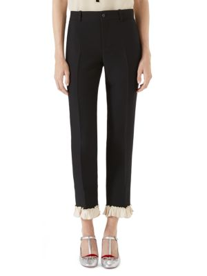 Cady Crop Wool Silk Ruffled Pants