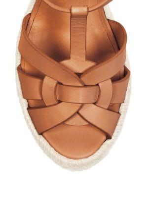 SAINT LAURENT Tribute Leather Platform Espadrille Sandal in Black