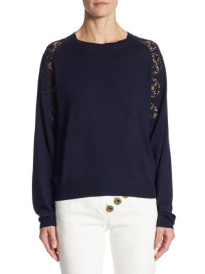 Lace Inset Wool Sweater