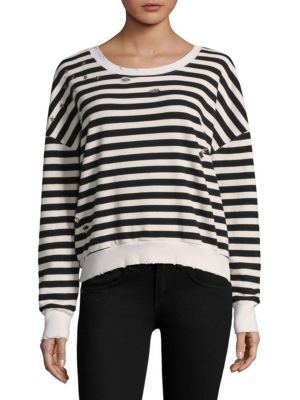WEST VILLAGE EMBELLISHED DISTRESSED STRIPED COTTON-BLEND JERSEY SWEATSHIRT
