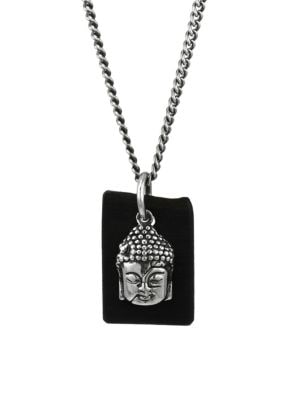 Sterling Silver & Leather Meditating Buddha Pendant Necklace