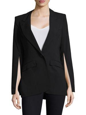 Zip-Sleeve Peak Lapel Linen Blazer