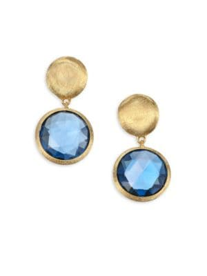 Jaipur London Blue Topaz and 18K Gold Earrings