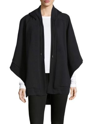 Embroidered Jersey Open-Front Poncho