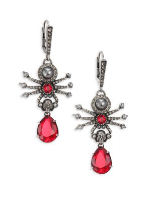 Swarovski Crystal & Faux Pearl Spider Earrings