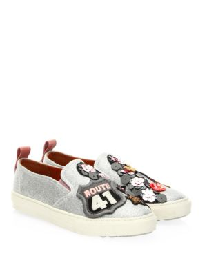 C115 METALLIC CHERRY PATCHES SNEAKERS