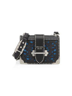 Cahier Laser Cut Saffiano Leather Crossbody Bag