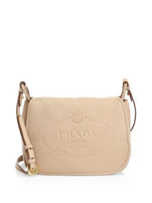 PRADA Vit Daino Leather Logo Crossbody Bag