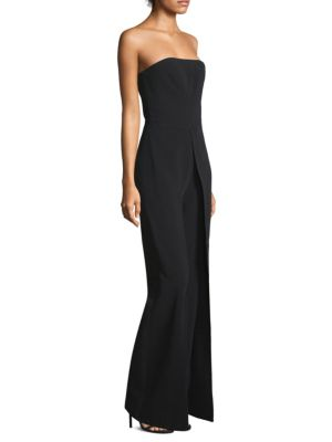 CARICE STRAPLESS FLARED-LEG CREPE JUMPSUIT