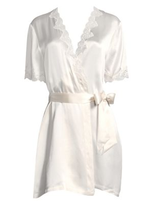 GINIA | Silk Lace-Trimmed Robe | Goxip