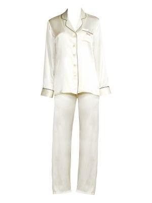GINIA   Fleurette Bride Silk Pajama Top And Pants   Goxip