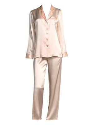 GINIA | Fleurette Silk Pajama Top and Pants | Goxip