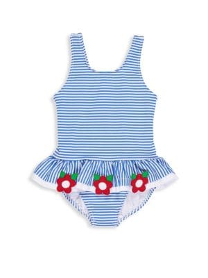 Toddler's & Little Girl's Skirted Striped Swimsuit