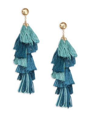 Ettika Turquoise Fringe Drop Earrings