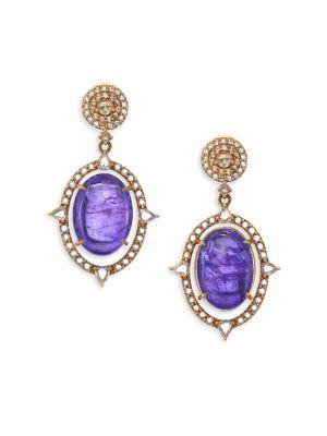 BAVNA 18K Gold, Diamond & Tanzanite Drop Earrings