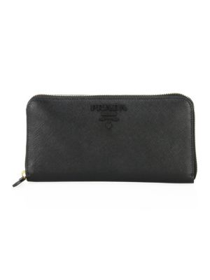 Monochrome Zip-Around Leather Wallet
