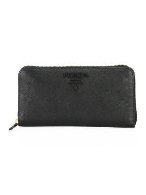 Monochrome Zip-Around Leather Wallet