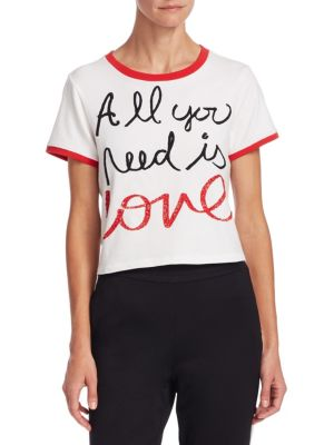 Alice + Olivia x Beatles Cindy Embroidered Crop Ringer Tee