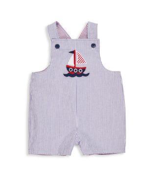 Baby's Stripe Seersucker Reversible Shortall