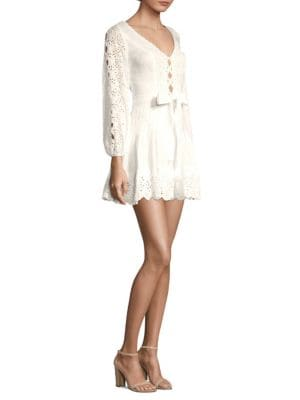 Cheap Best Wholesale Zimmermann Eyelet Lace Mini Dress Discount Comfortable Sast Cheap Online jdd6Umq