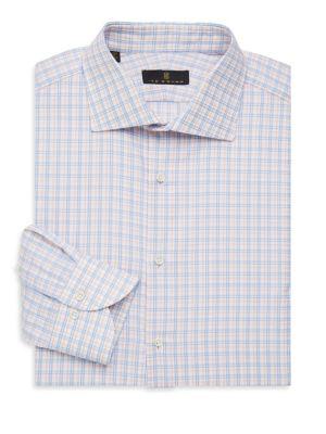 Regular-Fit Check Button Front Dress Shirt