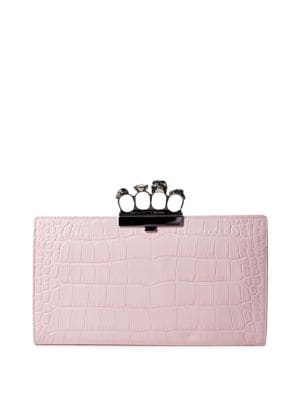 Crocodile-Embossed Knuckle Flat Leather Clutch