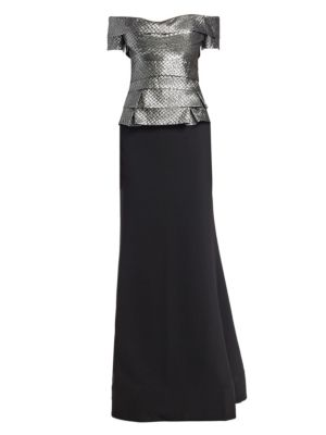Metallic Tiered Bodice Gown
