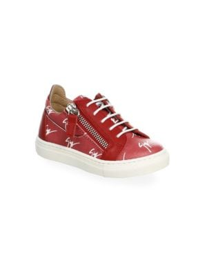 T Low-Top Double Zip Logo Leather & Canvas Sneakers