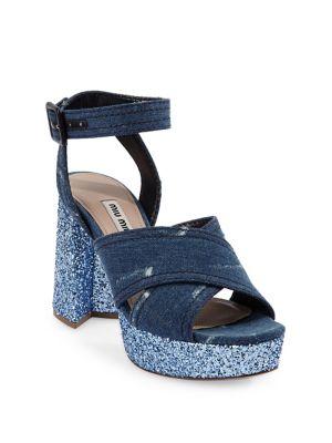 Crisscross Denim Platform Sandals