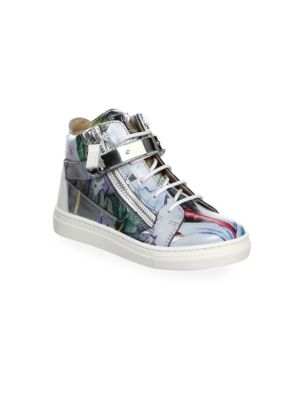 Baby's, Toddler's & Kid's Marble Hi-Top Double Zip Bar Sneakers