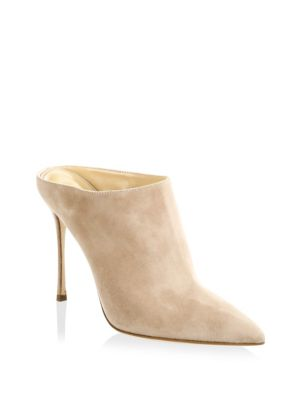 WOMEN'S GODIVA SUEDE HIGH-HEEL POINTED TOE MULES