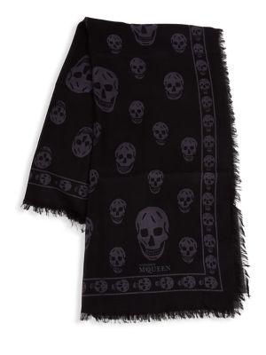 Silk Skull-Print Scarf