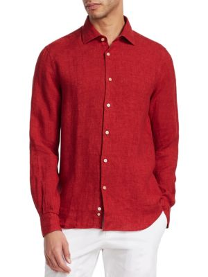 COLLECTION Solid Linen Button-Down Shirt