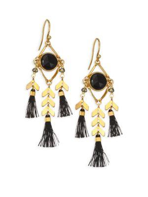 Moonstone Stone & Tassel Earrings