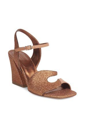Glitter Leather Block Heel Sandals