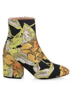 Floral Jacquard Ankle Boots