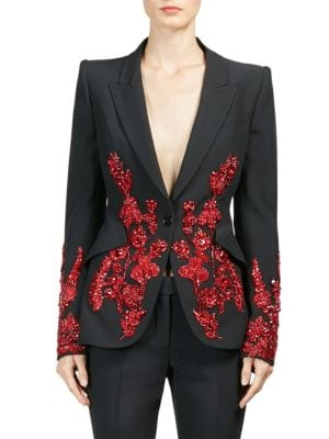 Embroidered Single Button Blazer