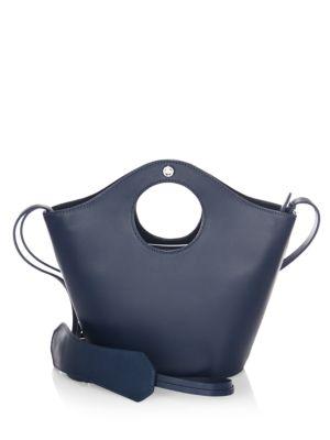 PETITE MARKET LEATHER SHOPPER - BLUE