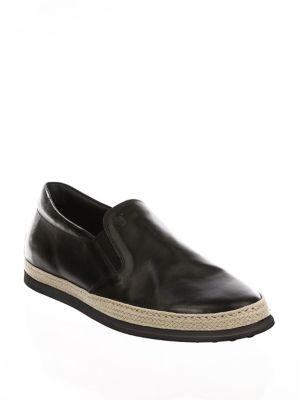 Leather Slip-On Espadrille Sneakers