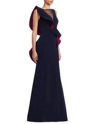 NERO BY JATIN VARMA Ruffle Illusion Gown